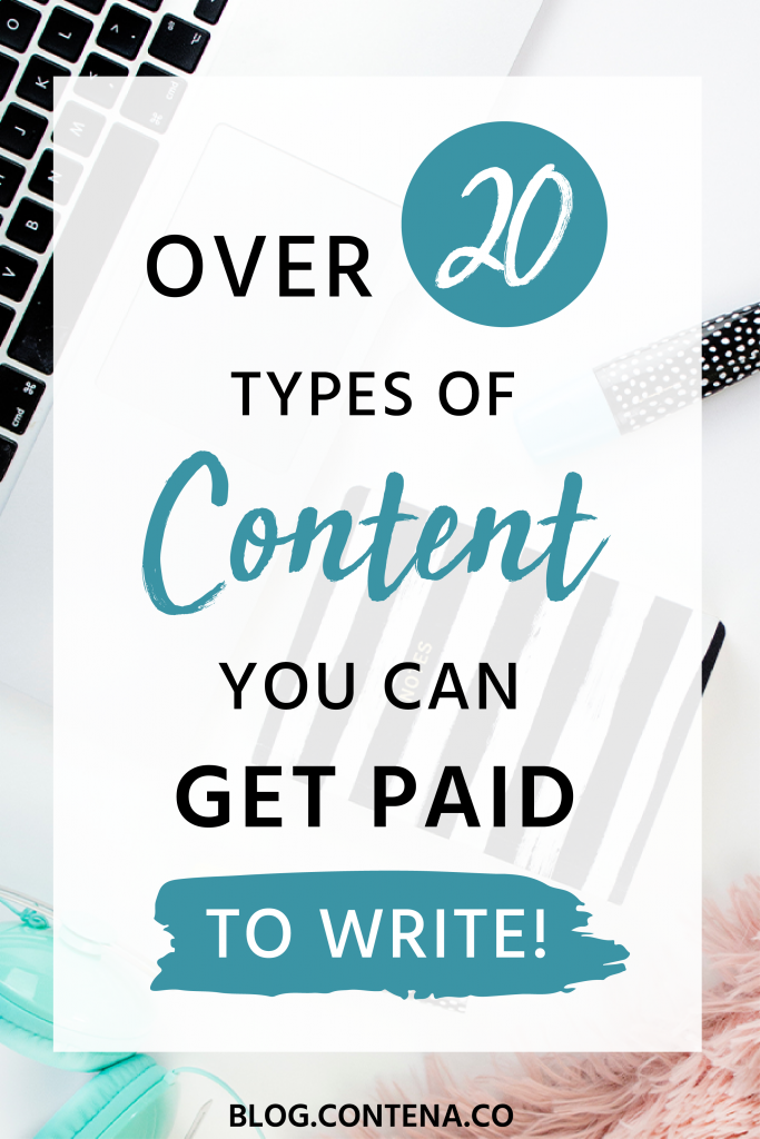Freelance writers can create many different types of content that they can get paid for. This list will help you understand the ways  you can make money as a writer. Even beginner freelancers can use this list for types of content that businesses will hire you to create. Work from home, creating content, and grow your freelance writing business! #PaidToWrite #FreelanceWriting #Freelancer #WorkFromHome #SideHustle #Money #OnlineBusiness #Writing #WritingJobs #Money