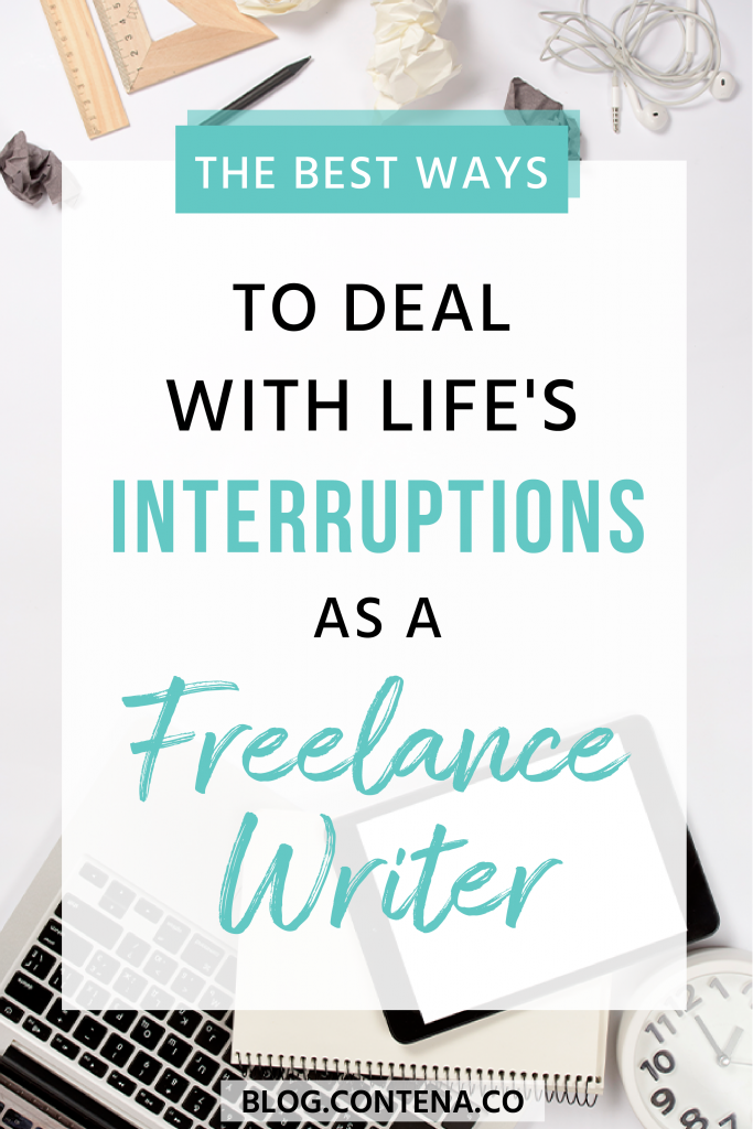 Staying focused and productive as a freelance writer is important, especially when dealing with big life interruptions like illness or vacations. Check out these tips for preparing for and dealing with distractions that you may face when working as a writer. When you want to make money writing, especially working from home you need to know how to handle these interruptions. #Interruptions #Illness #FreelanceWriting #Freelancer #WorkFromHome #SideHustle #Money #OnlineBusiness #Writing #WritingJobs #Contena